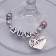 Step Mum Personalised Wine Glass Charm - Elegance Style